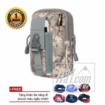 Túi đeo hông chiến thuật quân đội kiểu kỹ thuật số (xám) + Tặng khăn phượt đa năng