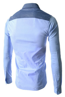 Reverieuomo CS39 Single-Breasted Shirt Sky Blue - Intl