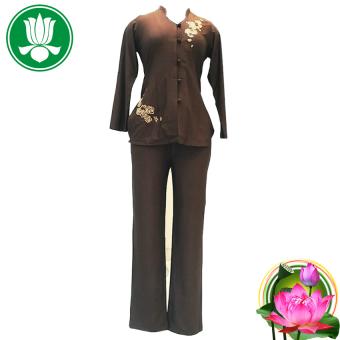 Bộ 1 áo và 1 quần pháp phục Phật tử nữ tay dài (Nâu đậm)