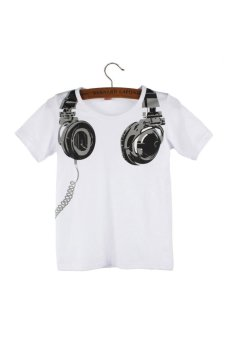 Casual Short Sleeve Tops Blouses Shirt (White)