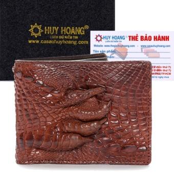 HL2233 - Bóp nam Huy Hoàng da cá sấu gù chân màu nâu đỏ