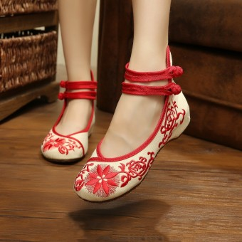 Womens Chinese Embroidered Flower Flat Shoes Mary Jane Ballet Ladies Cotton Pump - intl