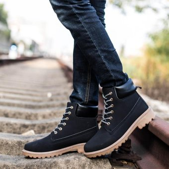 Men Ankle Boots Fur Lined Winter Autumn Warm Martin Boots Shoes - intl