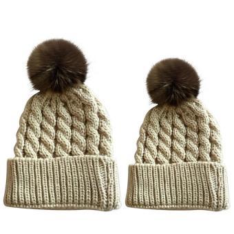 2 PCS Unisex Parents Adults Kids Knitted Woolen Yarn Knitting Winter Autumn Warm Outdoor Ski Cap Hat Beige - intl