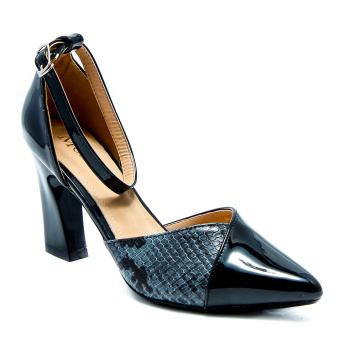 Giày cao gót da bóng phối da rắn Mozy MZG136(Đen)