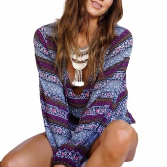 Fancyqube Bohemian V Neck Lace Up Shirt Bohemian V Neck Top Boho Ethnic Long Sleeve Shirt Vintage Retro Casual Blusas Purple - intl