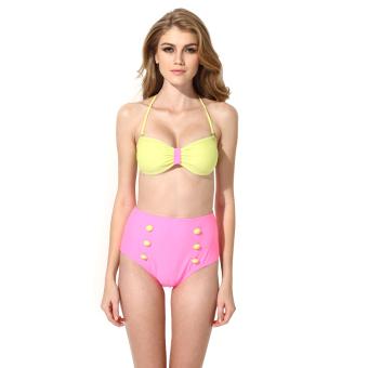 Colloyes 2015 New Sexy Greenish Yellow Pink Bikini Swimwear With Bandeau Top and High-waist Bottom Size M - Intl