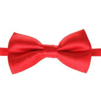 Fashion Men's Tuxedo Bowtie Solid Color Neckwear Adjustable Wedding Party Bow Tie Necktie Pre-Tied Red - Intl