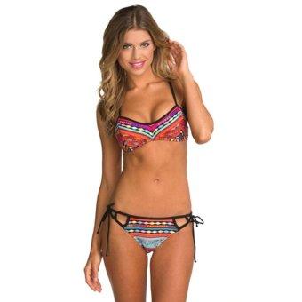 Moonar Sexy Push Up Padded Women Swimsuit National Style Pattern Bandeau Bikini Set (S-L Size)
