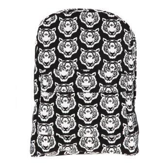 Black Personality Leisure Tiger Canvas Backpack School Bag Should Bag - Intl - intl