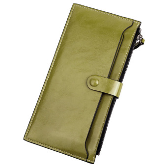 Leather Zipper Purse Ultra-thin Multifunctional Wallet (Green)