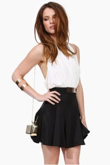 Cyber Women Fashion Halter Patchwork Pleated Casual Mini Dress ( Black/White) - intl