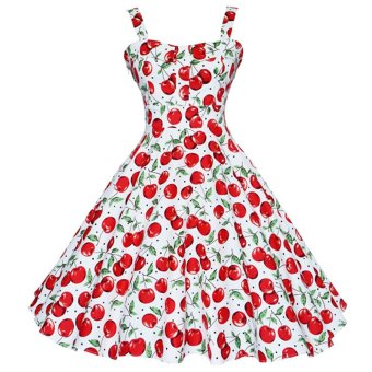 ZAFUL Woman Print Dress Retro Condole Belt (Red) - Intl --TC