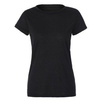 Stylish Women's Hollow Out Back Round Collar Short Sleeve T-Shirt - Intl - intl