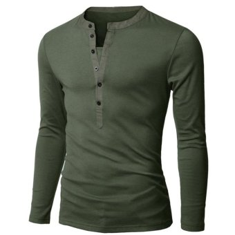 Fancyqube Mens Long Sleeve T-Shirt Army Green - Intl