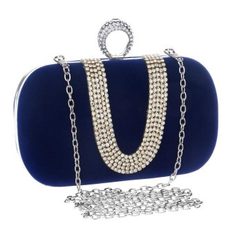 niceEshop Womens Velvet Rhinestone Evening Cocktail Clutch Bags With One Ring Royalblue - intl