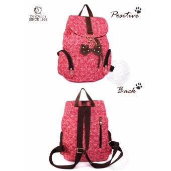 Balo nữ màu hồng dav danny sọc chéo có 2 mút gấu nâu thời trang dành cho bạn gái - DD168L3059