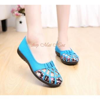 Giày Búp Bê Hoa Đan Dây Dịu Dàng (Xanh)