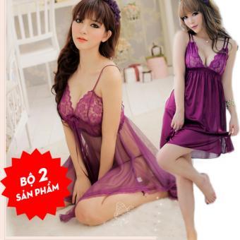 Váy ngủ xòe ren ngực tà dài + Tặng Đầm ngủ chéo lưng màu tím