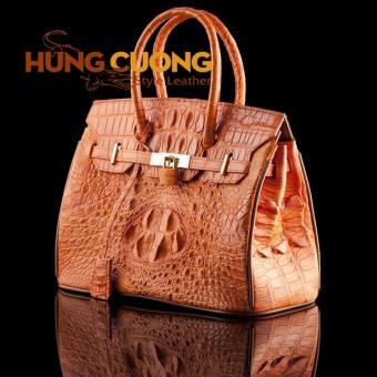 Túi xách da cá sấu thật Hùng Cường màu vàng HC2003