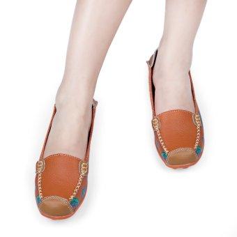 Casual Floral Print Patchwork Slip On Flat Shoes(Jacinth) - intl