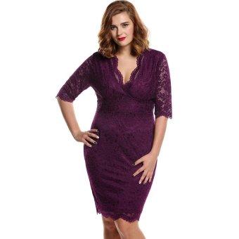 Linemart Meaneor Women Ladies Medium Sleeve V-Neck Pencil Dress High Waist Floral Calf Length Party Lace Dress Plus ( Purple ) - intl