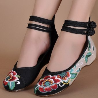 Big Size Women Mary Janes Chinese Embroidered Flower Flat Shoes Linen Loafers Black - intl