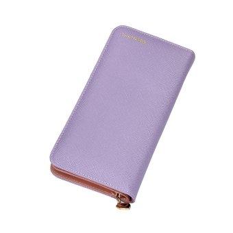 Women Fashion Leather Bifold Wallet Purple