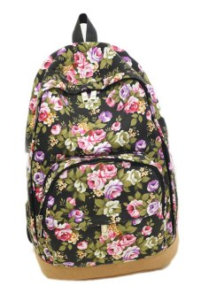 Fancyqube Canvas Leisure Rose Flowers Printed Backpack Black