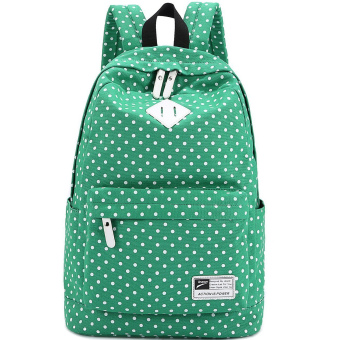 Cute Polka Dot Women Canvas Backpack Satchel Rucksack Schoolbag Leisure Travel Shoulder Bag Green