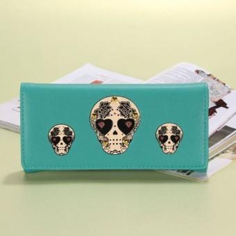 Skeleton Skull Wallet PU leather handbags Cartoon Women Wallets and Purses (Blue) - INTL