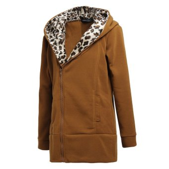 ZANZEA Women Leopard Hoodie Fleece Coat Jacket Sweatshirt Zip Outwear Tops Camel - Intl