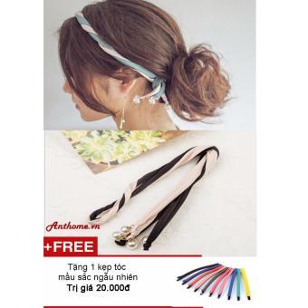 Dây buộc tóc nữ bằng lụa (Đen phối da) + Tặng 1 kẹp tóc màu sắc ngẫu nhiên