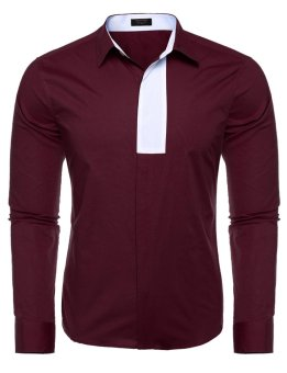Linemart Men's Turn Down Collar Long Sleeve Patchwork Casual Button Down Shirt ( Wine Red ) - intl
