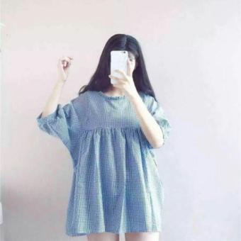 Đầm doll caro trắng xanh