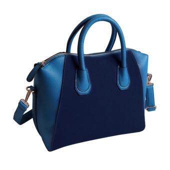 Women Handbag Shoulder Bags Tote Purse Frosted PU Leather Bag Blue (Intl)