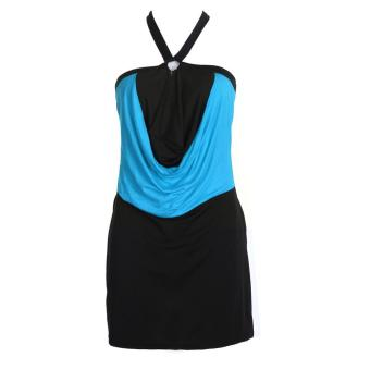 Women Short Scalloped Halter Neck Backless Club Lace Dress (Blue)(M) - intl