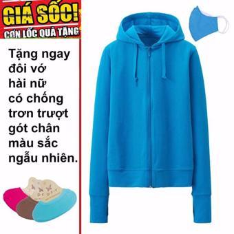 Áo khoác chống nắng cotton DMA store (xanh dương) tặng 1 đôi tất chống trơn trượt và 1 khẩu trang hoạt tính