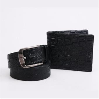 Bộ ví da dây nịt da bò cao cấp ICHI V27 (Đen)