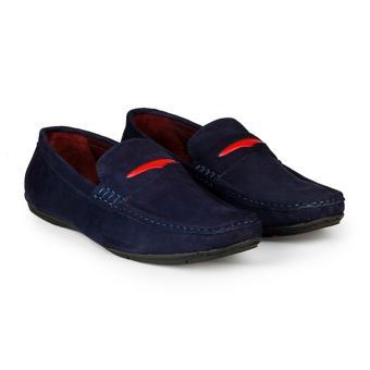 Giày Lười Nam Da Bò Lộn HC1222 (Xanh đen)