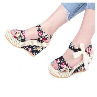 Summer Ladies Wedge Heel Sandals Flower Print Bowknot Lace Up Water Resistance (Black) - intl