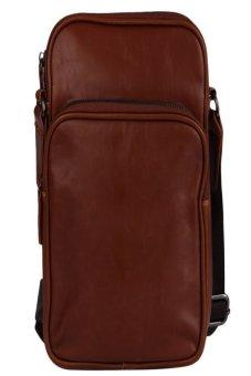 HKS Mens Leather Shoulder Bag Brown - intl