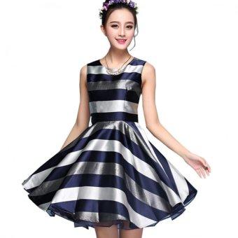 Đầm xòe họa tiết sọc nganbeyeu1688 - by8030