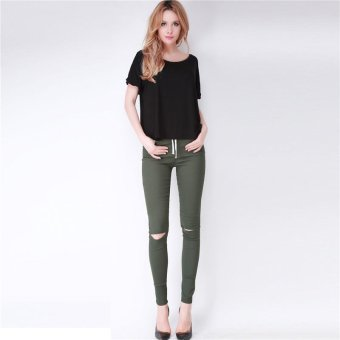 LALANG Fashion Women Skinny Leggings Exposed Knee Holes Feet Pants (Army Green) - Intl