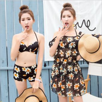 Bikini 2 Mảnh + Váy hoa tôn dáng (Đen)