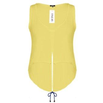 Sunweb Finejo Sexy Women O-Neck Sleeveless Solid Back Split Asymmetrical Hem Tank Crop Tops ( Yellow ) - intl