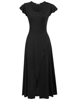 Cyber Women Casual Cap Sleeve Solid O Neck Empire Stretchy Maxi Dress ( Black ) - intl