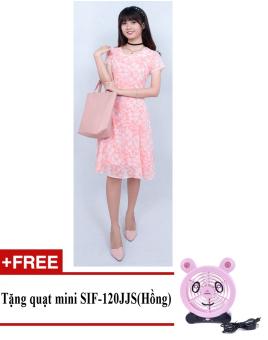 Đầm midi hoa lá cách điệu Korea Zaskin ZA01D10 + Tặng quạt mini shinil SIF-120JJS (Hồng)