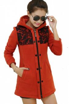 Áo khoác nữ form dài phối ren LV452 (Đỏ)