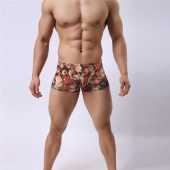 LALANG Men's Boxers Underwear Breathable Fashion Retro Printed Underpants Pink - Intl